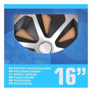 Radblenden-Set Roco Silber/schwarz 16 Zoll 4 Stück im Displaykarton