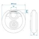 Rundbügel-Vorhangschloss mit Kunststoffbeschichtung und 2 röhrenförmige Schlüssel