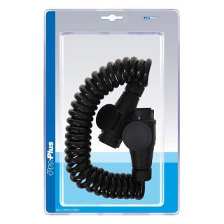 Spiralkabel mit 2x Stecker 13-polig PVC im Blister