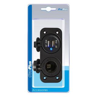 Einbau Kit: Steckdose DIN + USB Doppel-steckdose 2x2100mA im Blister